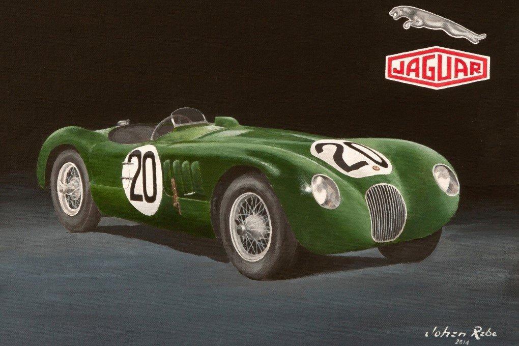 1951 Le Mans winning C-Type Jaguar painting
