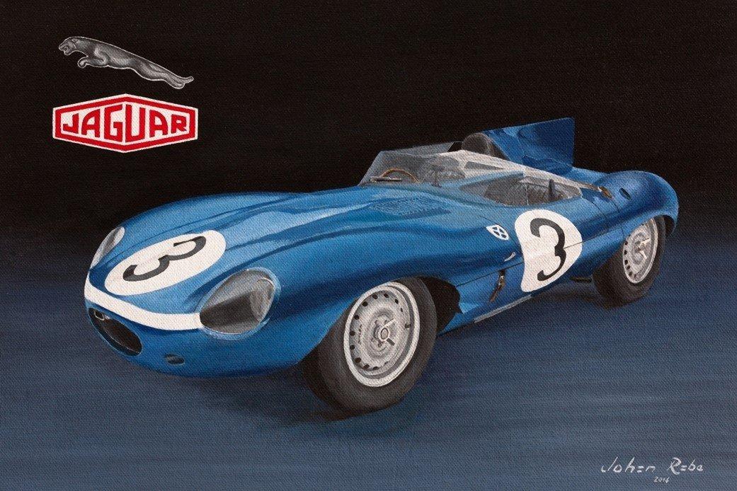 1957 Le Mans winning D-Type Jaguar painting