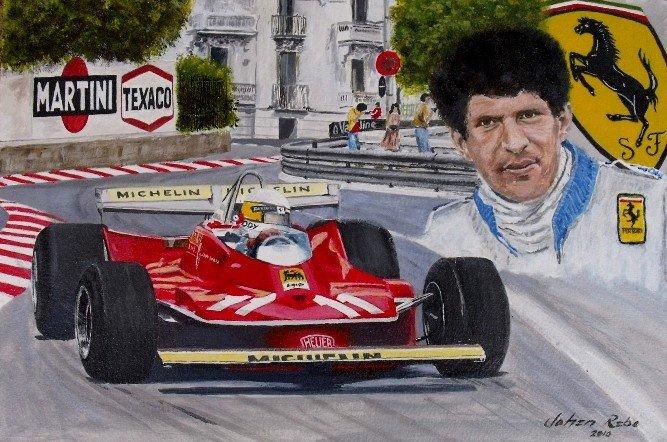 Jody Scheckter Ferrari Monaco 1979 painting